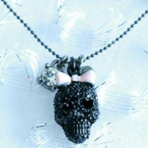 Betsey Johnson Black Bow Skull Necklace
